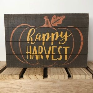 Happy Harvest Pumpkin Wood Sign